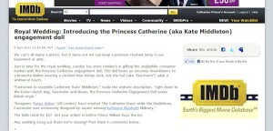 Princess Catherine Doll on the IMDB database of movie stars and celebrities.