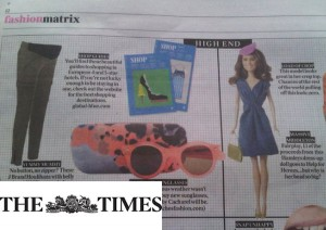 Princess Catherine Doll in The Times newspaper, fashion pages.
