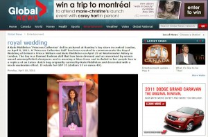 Princess Catherine Doll in Canadian Global News