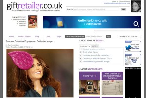 Princess Catherine Doll in Gift Retailer magazine