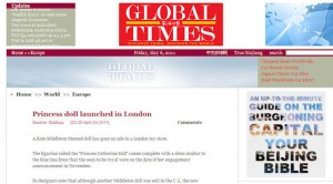Princess Catherine Doll in the China Global Times