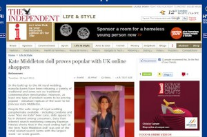"""Kate Middleton Doll"" largest retail search on Internet"