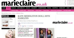 Princess Catherine Doll in Marie Claire magazine