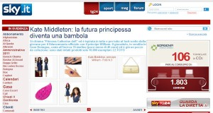Princess Catherine Doll on Sky Italia