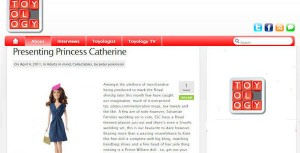 Princess Catherine Doll in leading toy news website Toyology